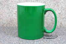customize green coffee cup by Timber 2 Glass, personalize coffee cup, laser engrave coffee cup