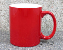 customize red coffee cup by Timber 2 Glass, personalize coffee cup, laser engrave coffee cup