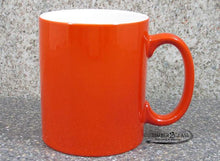 customize orange coffee cup by Timber 2 Glass, personalize coffee cup, laser engrave coffee cup