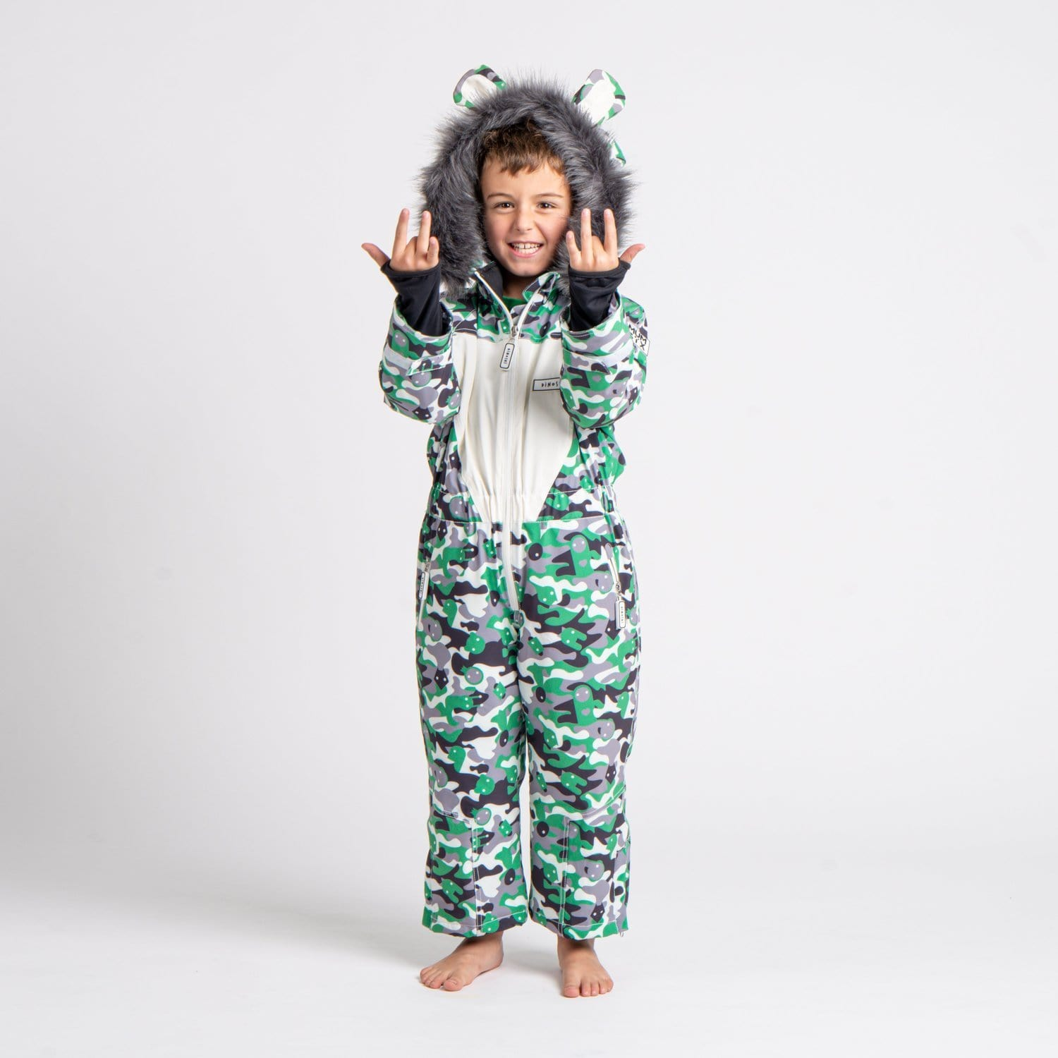 Monster Camouflage Kids Ski Suit | Dinoski | Hatch Label