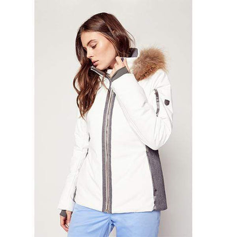 Danielle II Jacket in White Cloud/Charcoal - Faux Fur