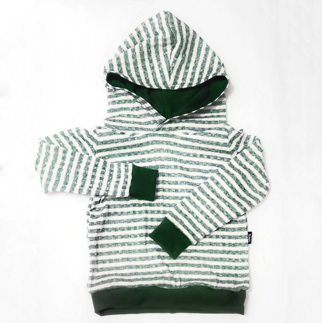 Hunter Green Striped Hooded Sweater
