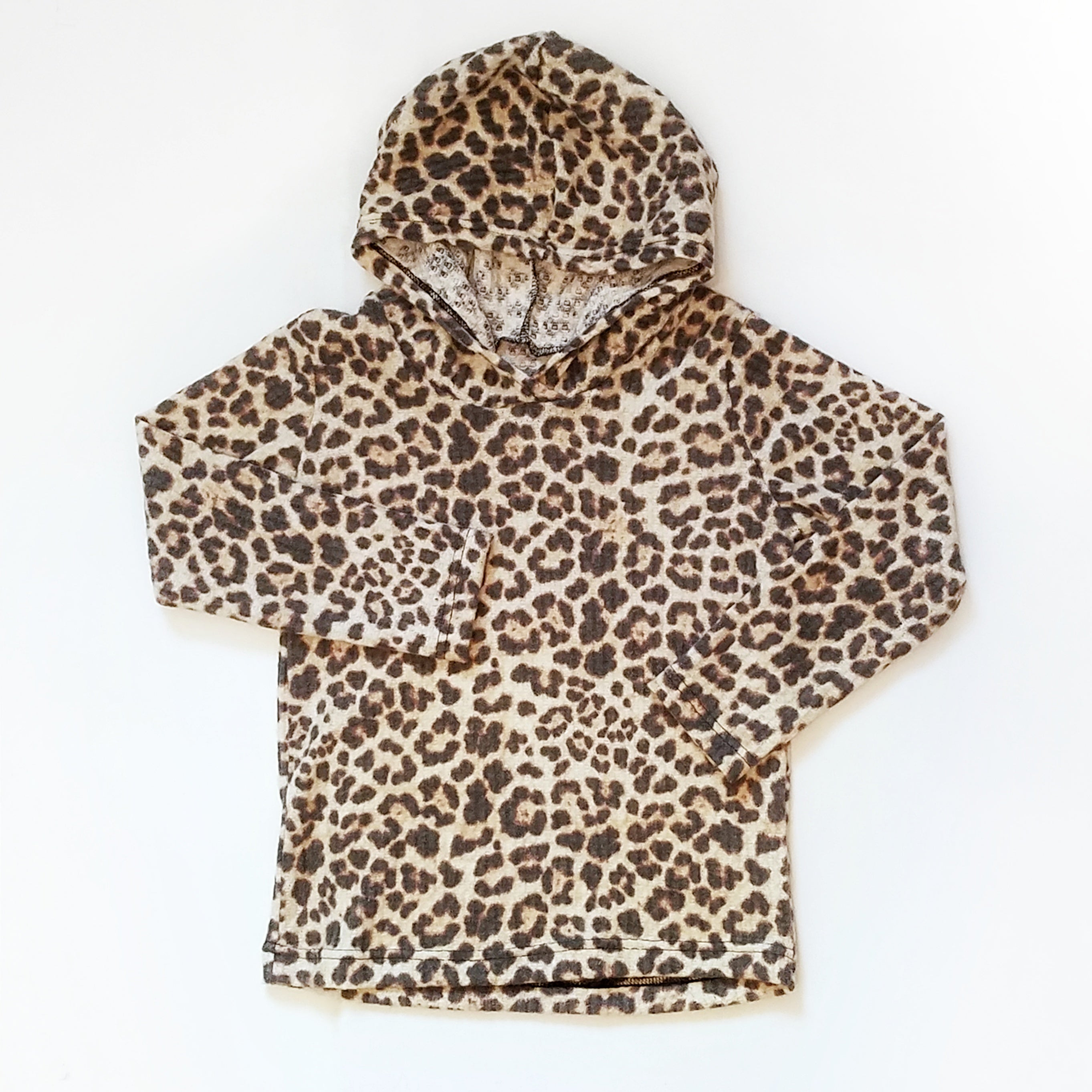 Leopard Waffle Knit Hooded Pullover