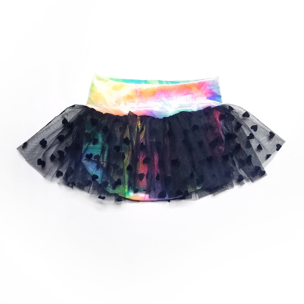 Pastel Goth Derby Skirt with Velvet Tie Dye and Black Heart Mesh