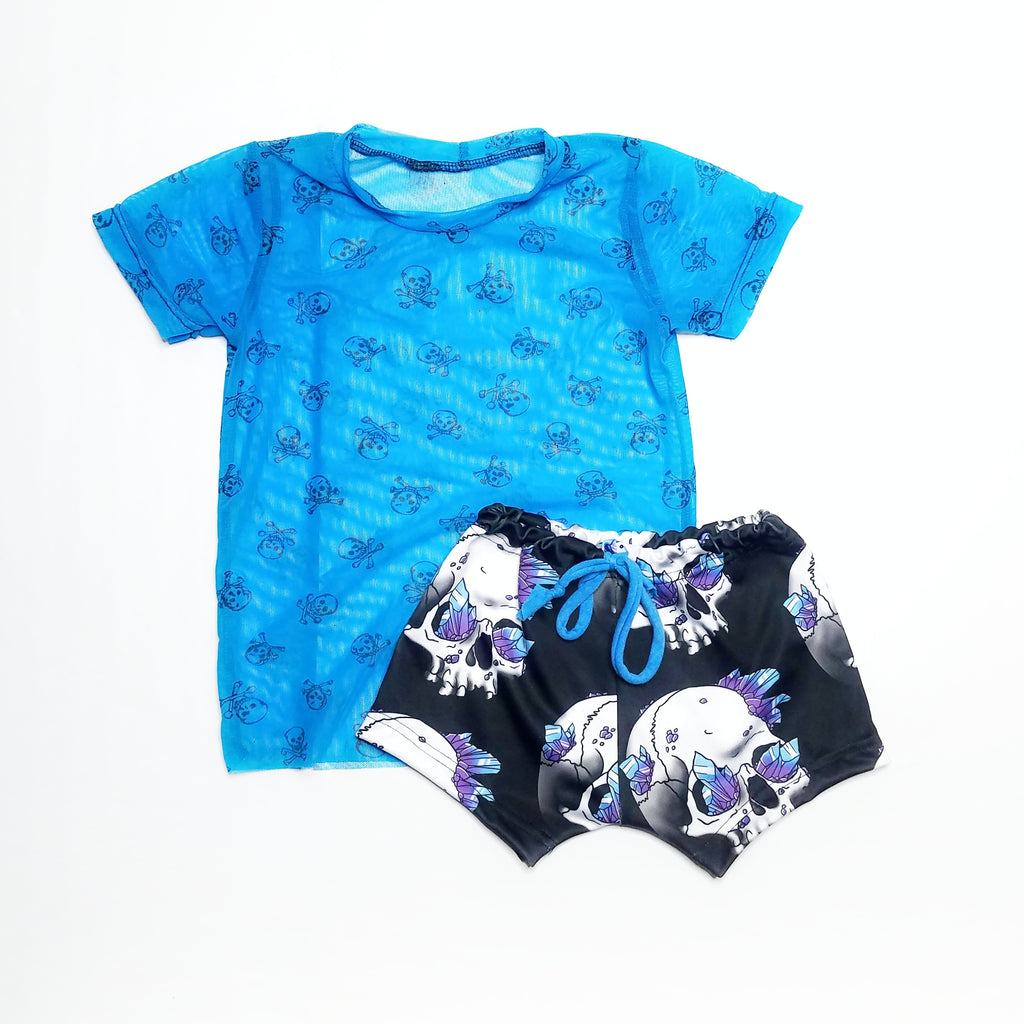 Blue Skull and Crossbones Mesh Tee