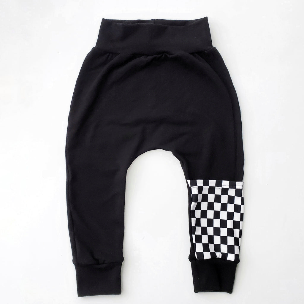Checkered Leg Pocket Harem Pants