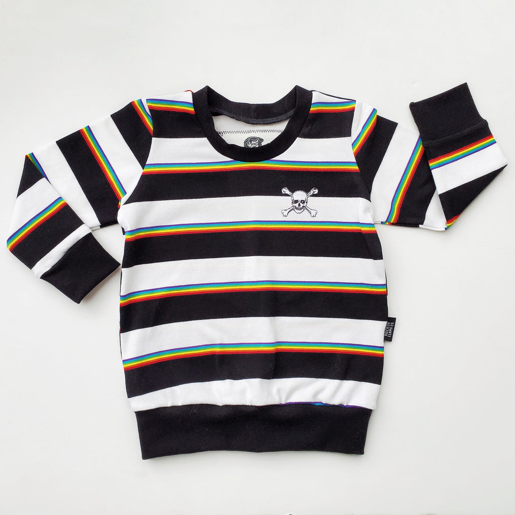 Rainbow Stripe Skull Patch Pullover