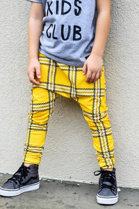 Yellow Plaid Harem Pants