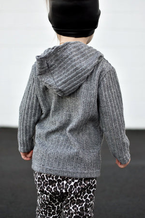 Grey Ribbed Hooded Pullover