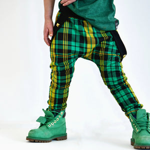 Lucky Green Plaid Suspender Harems