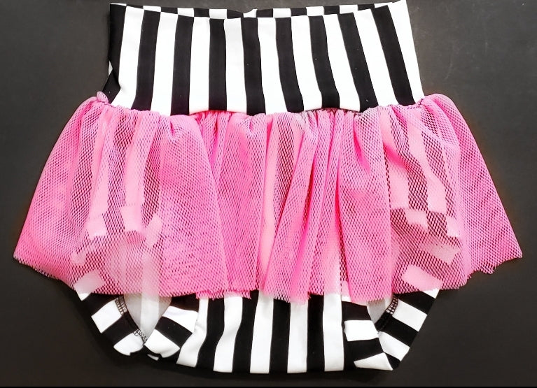 Striped Swim Derby with Pink Mesh