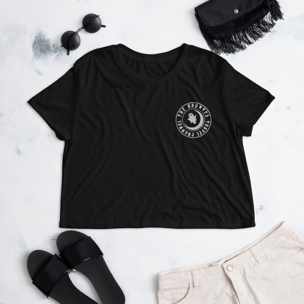 The Haunted Travel Channel Pocket THTC Logo Crop Tee