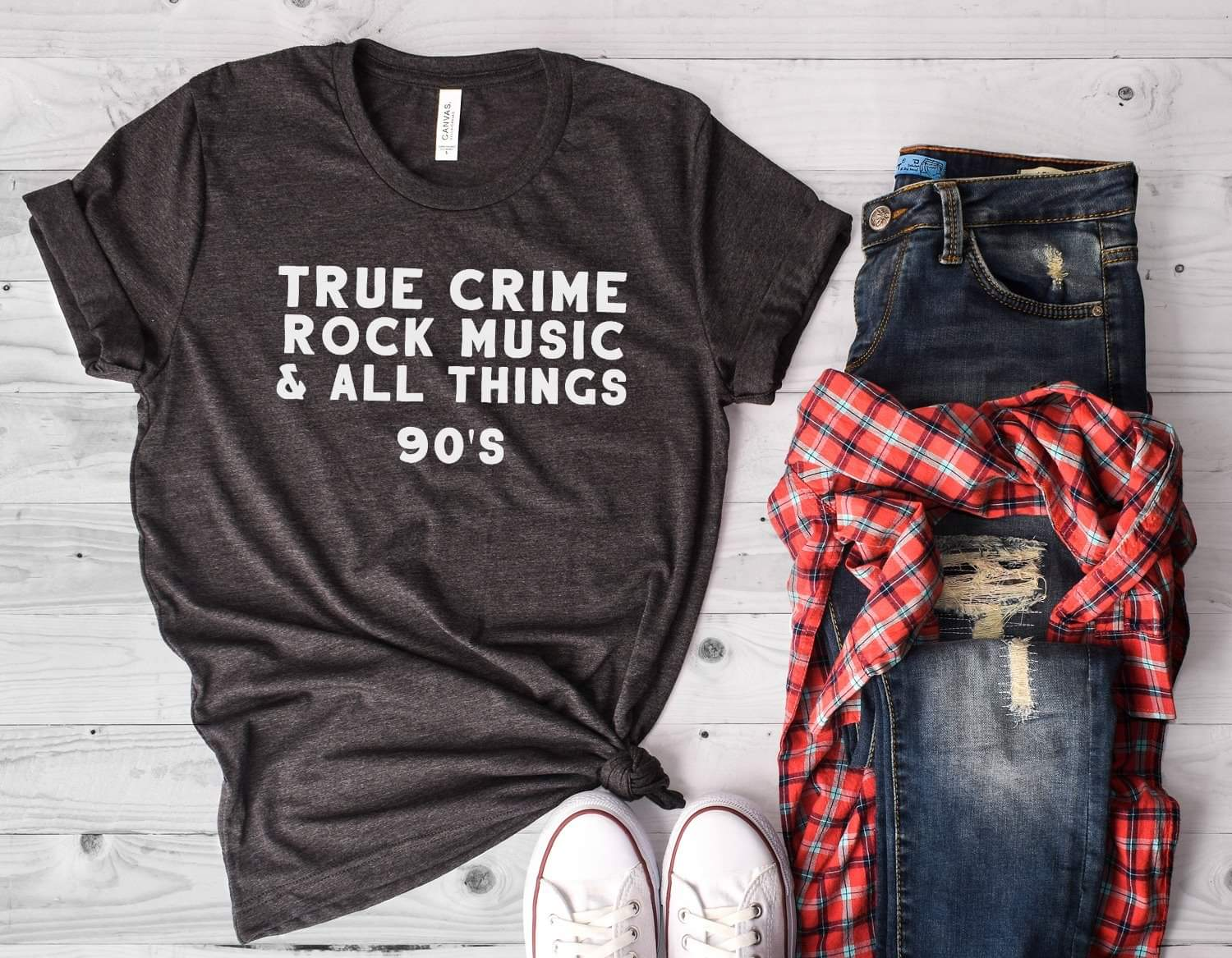 True Crime Rock Music 90s Adult Tee Shirt