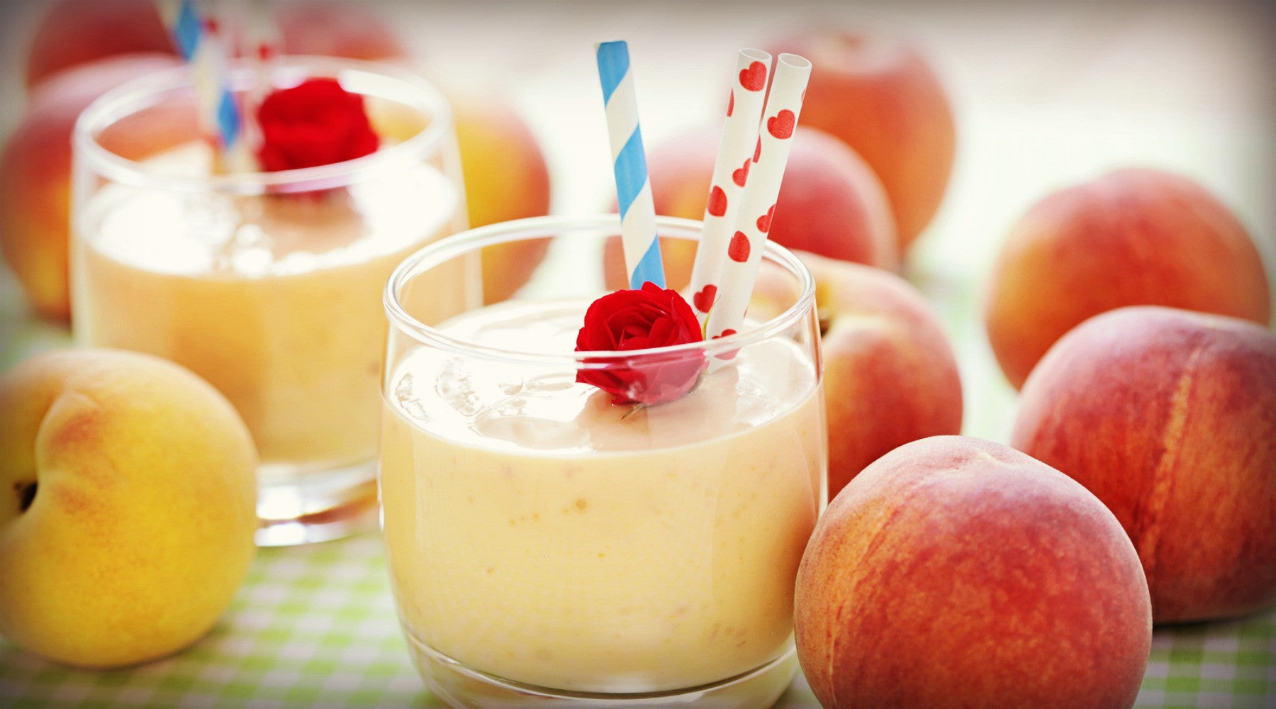 delicious and fresh peach smoothie