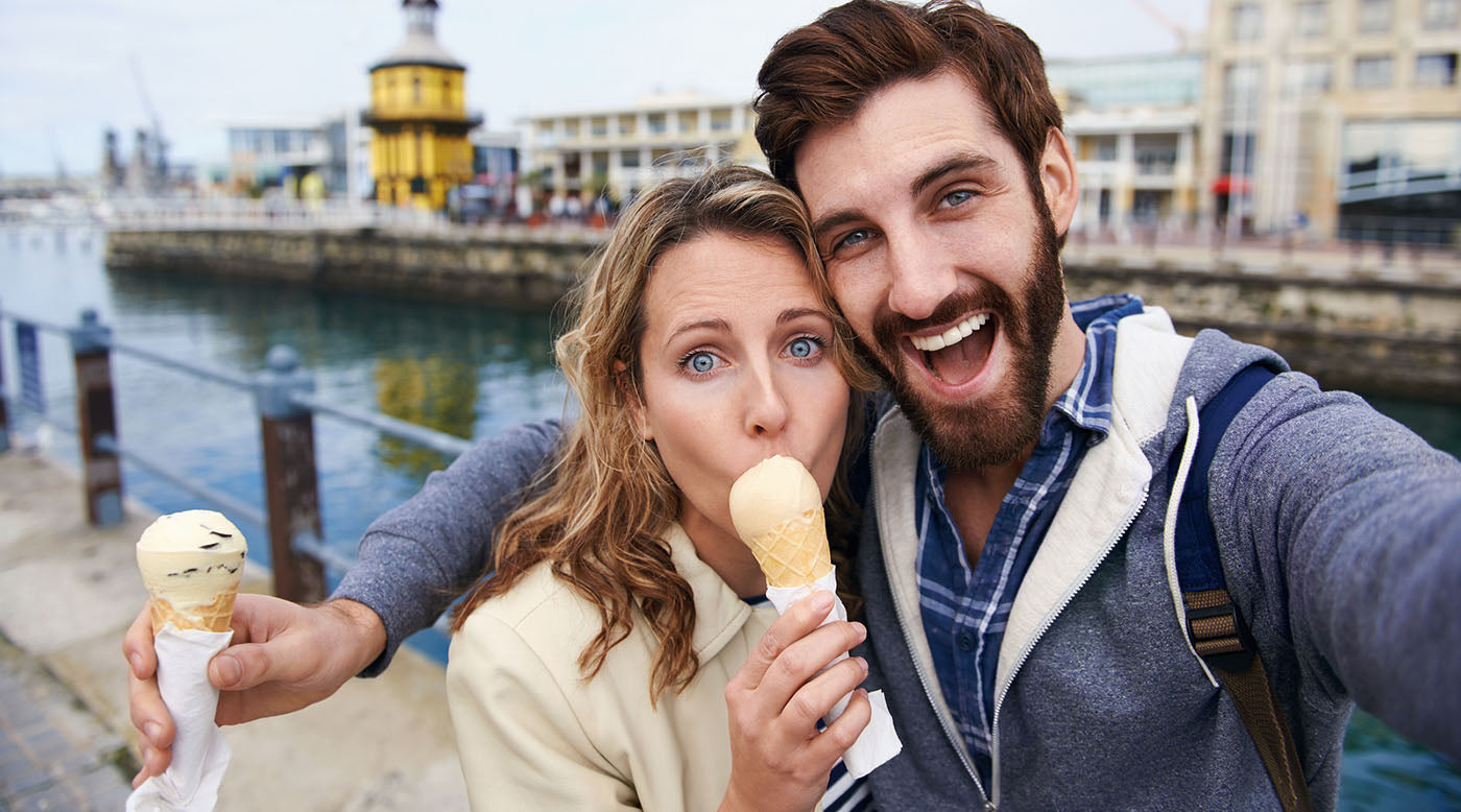 tourists eating ice cream