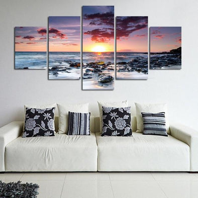 Beach Sunset - 5 Panel Canvas Art Set