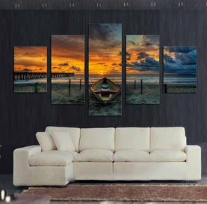 Beached Boat Sunset - 5 Panel Canvas Art Set