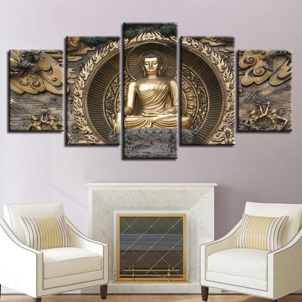 Bhumisparsha Buddha - 5 Panel Canvas Art Set