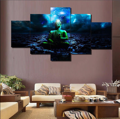 Blue Ocean Buddha - 5 Panel Canvas Art Set