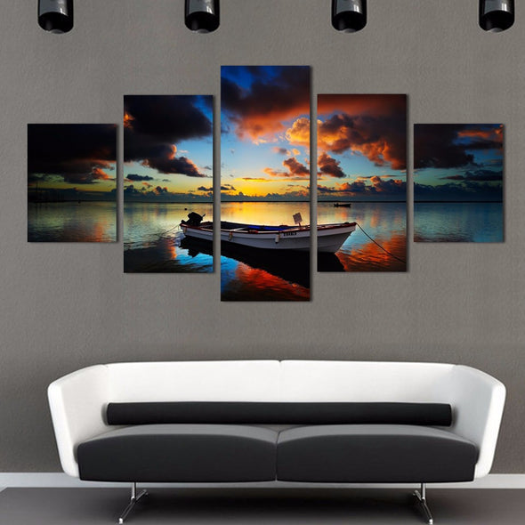 Boat on the Water - 5 Panel Canvas Set