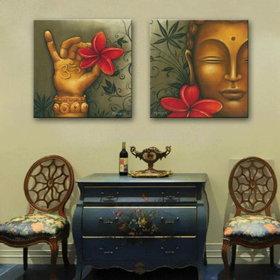 Buddha and Red Flowers - 2 Panel Canvas Art Set