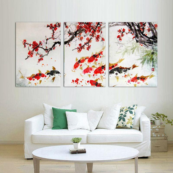 Cherry Blossom and Koi - 3 Panel Canvas Art Set