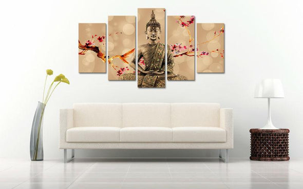 Cherry Plum Buddha - 5 Panel Canvas Art Set