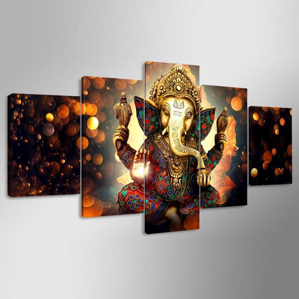 Colourful Ganesha - 5 Panel Canvas Art Set