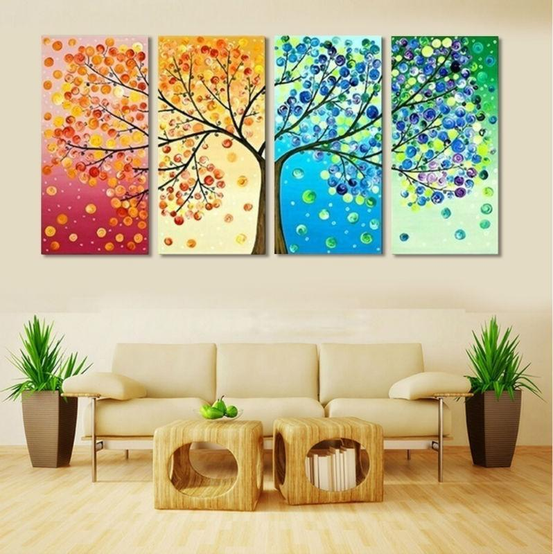Colourful Tree 4 Panel Canvas Art Set