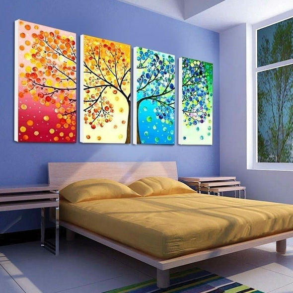 Colourful Tree - 4 Panel Canvas Art Set