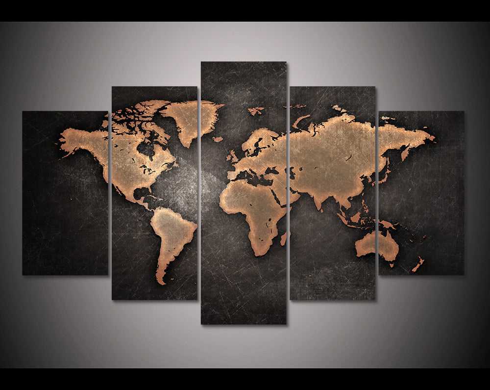 Distressed world map 5 panel canvas art set canvas art images may not be to scale please refer to the dimensions in the product description for accurate sizing for your display area gumiabroncs Choice Image