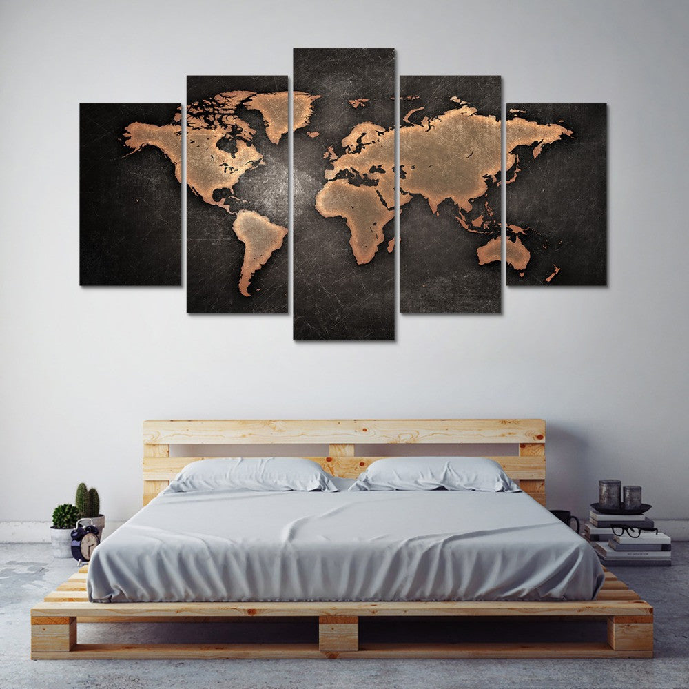 Distressed world map 5 panel canvas art set torsteinn home decor canvas art images may not be to scale please refer to the dimensions in the product description for accurate sizing for your display area gumiabroncs Image collections