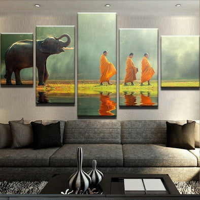 Elephant and Monks - 5 Panel Canvas Art Set
