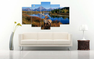Elk By River - 5 Panel Canvas Art Set