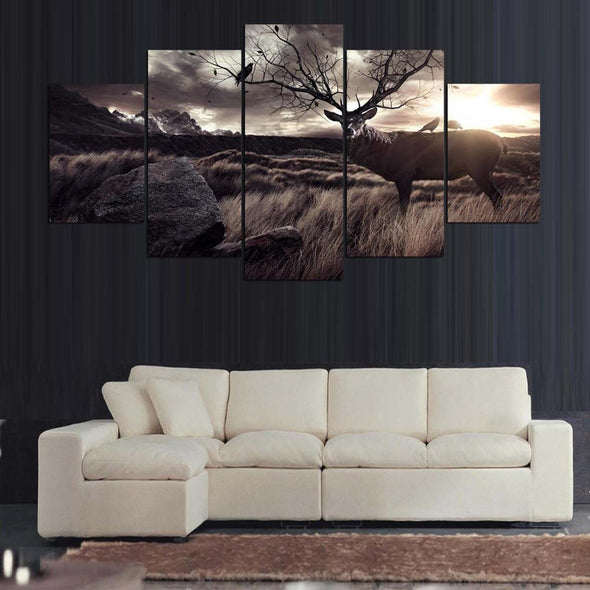 Elk Tree - 5 Panel Canvas Art Set
