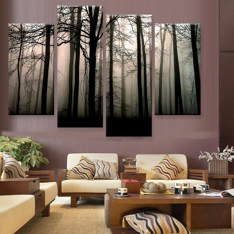 foggy woods 4 panel canvas art set torsteinn home decor