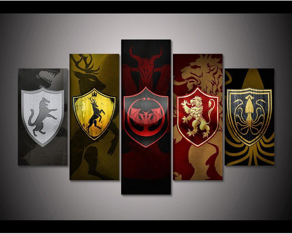 Game of Thrones House Sigils - 5 Panel Canvas Art Set