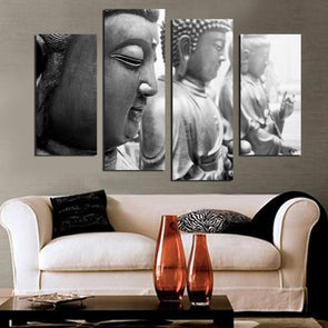 Grey Buddhas - 4 Panel Canvas Art Set