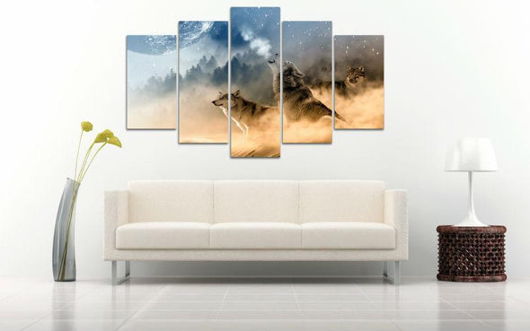 Howling At The Moon - 5 Panel Canvas Art Set