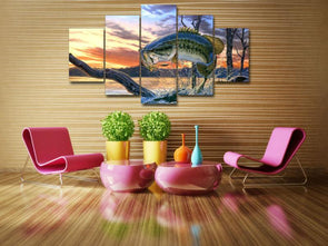 Jumping Fish - 5 Panel Canvas Art Set