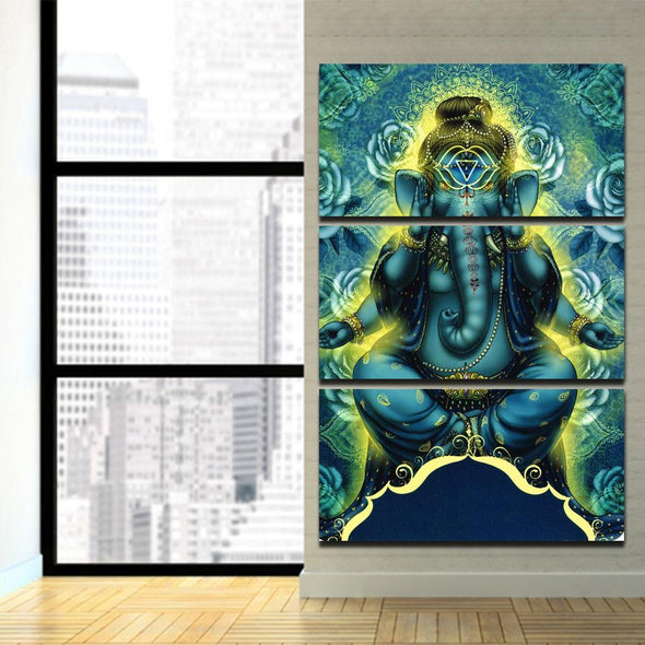 Lord Ganesha - 3 Panel Canvas Art Set
