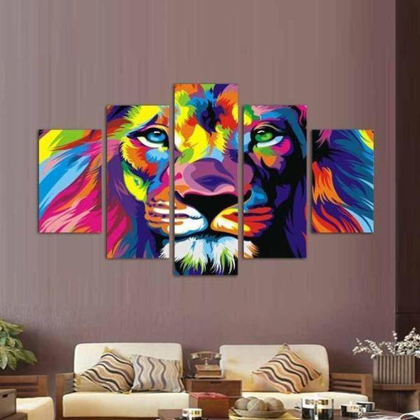 Magnificent Lion - 5 Panel Canvas Art Set