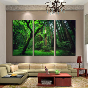 Mossy Forest - 3 Panel Canvas Art Set