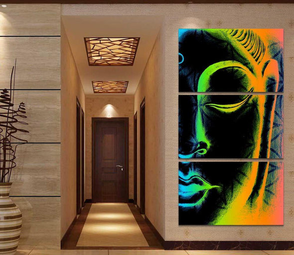 Negative Style Buddha - 3 Panel Canvas Art Set