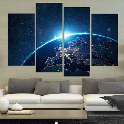 Night Lights on Earth - 4 Panel Canvas Art Set