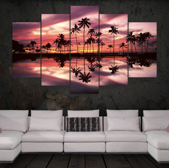 Palm Tree Sunset - 5 Panel Canvas Art Set