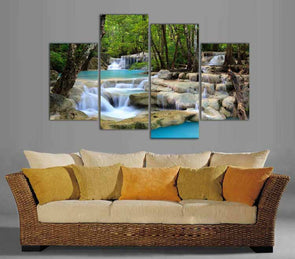 Peaceful Waterfall - 4 Panel Canvas Art Set