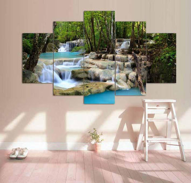 Peaceful Waterfall - 5 Panel Canvas Art Set
