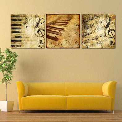 Piano Music - 3 Panel Canvas Art Set