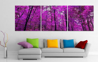 Purple Forest - 3 Panel Canvas Art Set